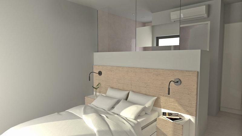Cómodo y moderno dormitorio principal.
