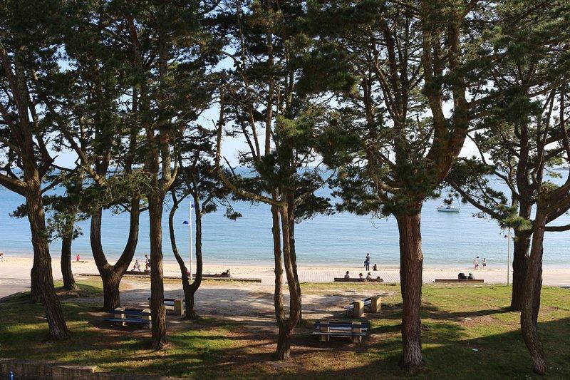 Magnifique vue mer des deux pièces de l'appartement face à la plage du Trez, holiday rental in Benodet