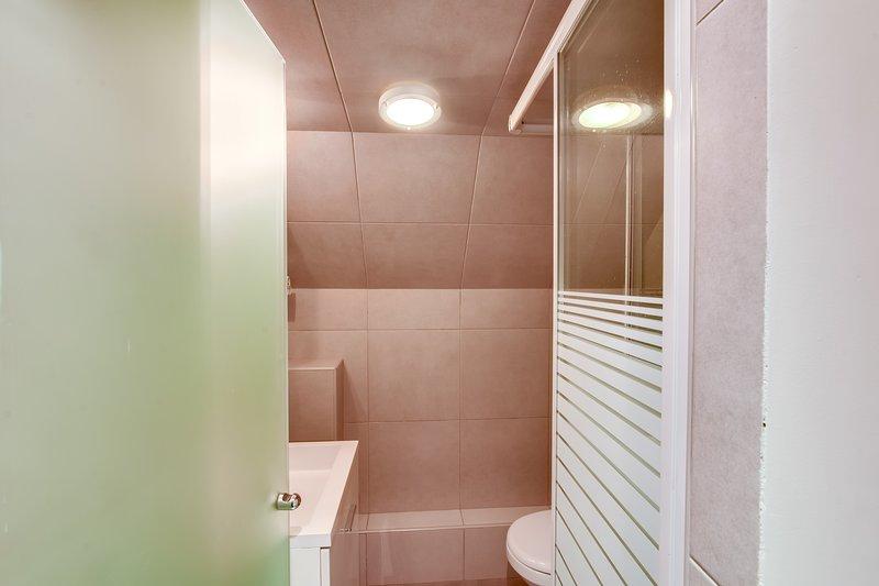 Cuarto de baño: cabina de ducha y WC.