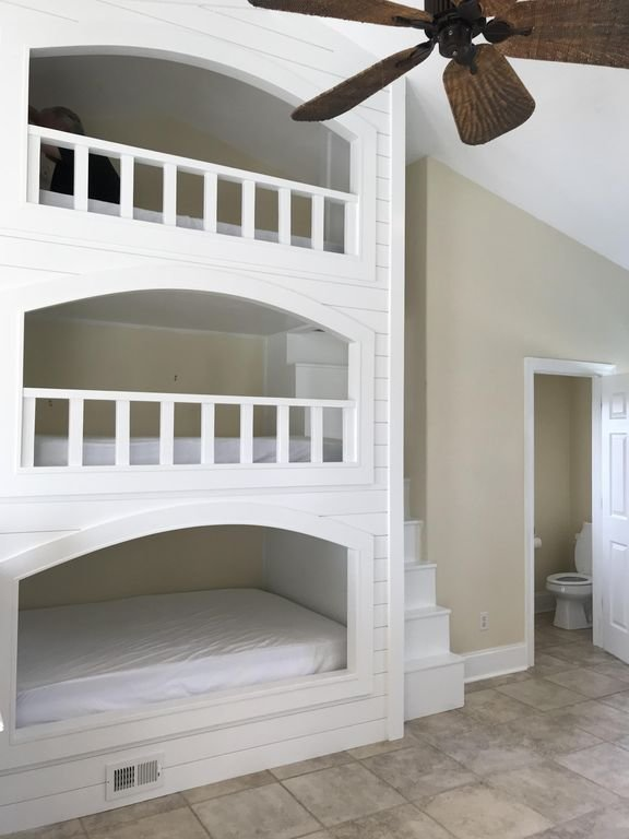 Triple bunks with stairs on 3rd floor