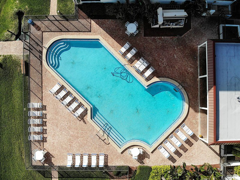 Aerial of the oceanfront pool.
