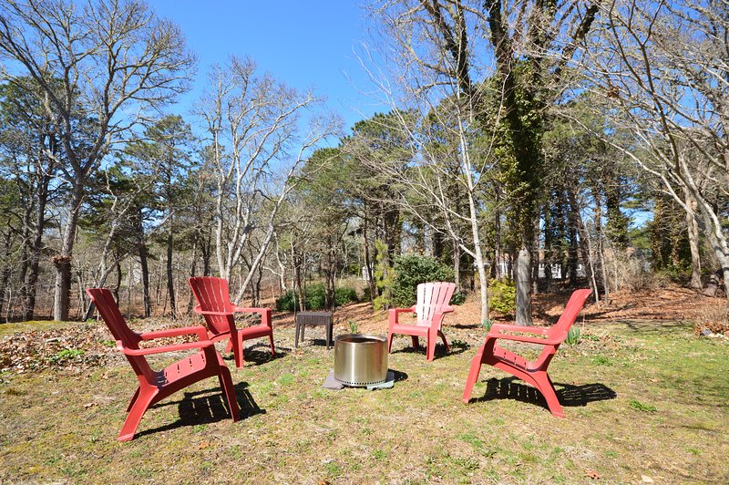 Fire pit and outdoor seating in the backyard
