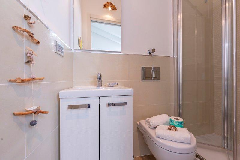 Baño con ducha y WC.