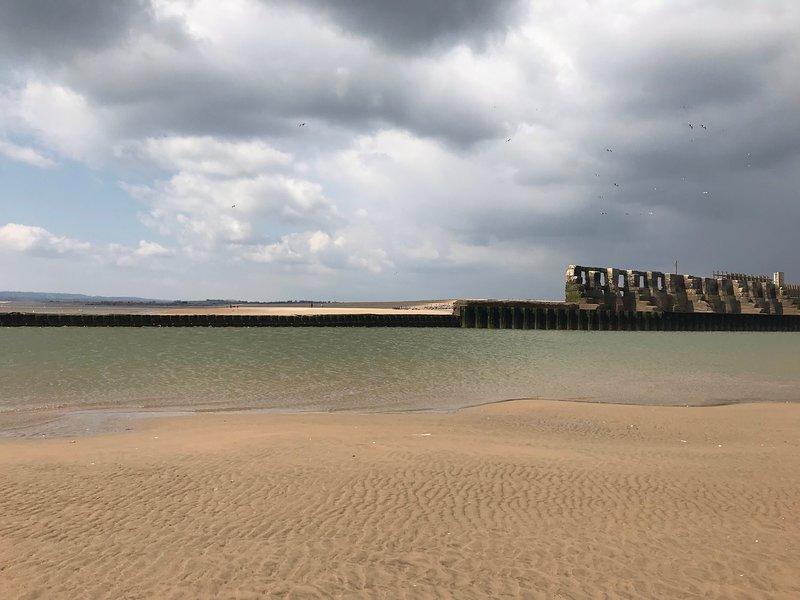 Vista del puerto de Rye desde la playa de Camber, de cerca y personal