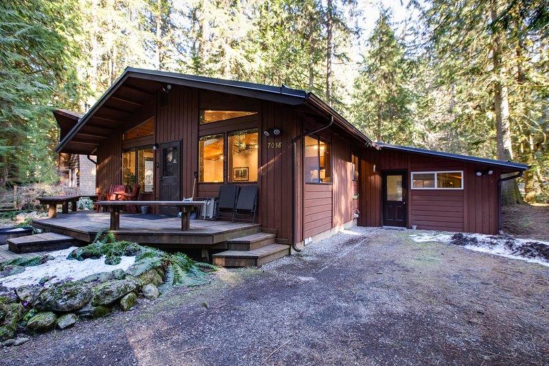 Snowline Family Cabin #23 - HOT TUB, SAUNA, W/D, POOL TABLE, BBQ, WIFI*, SLP-6, holiday rental in Glacier