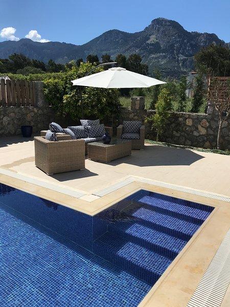 Mountain View do terraço da piscina