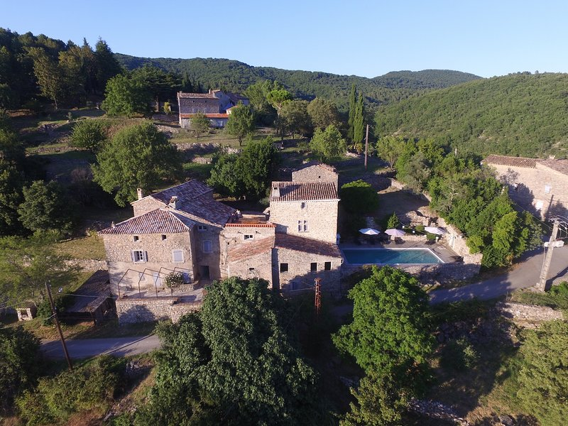 17th century farmhouse located in a charming hamlet. pool with open views of the Cevennes