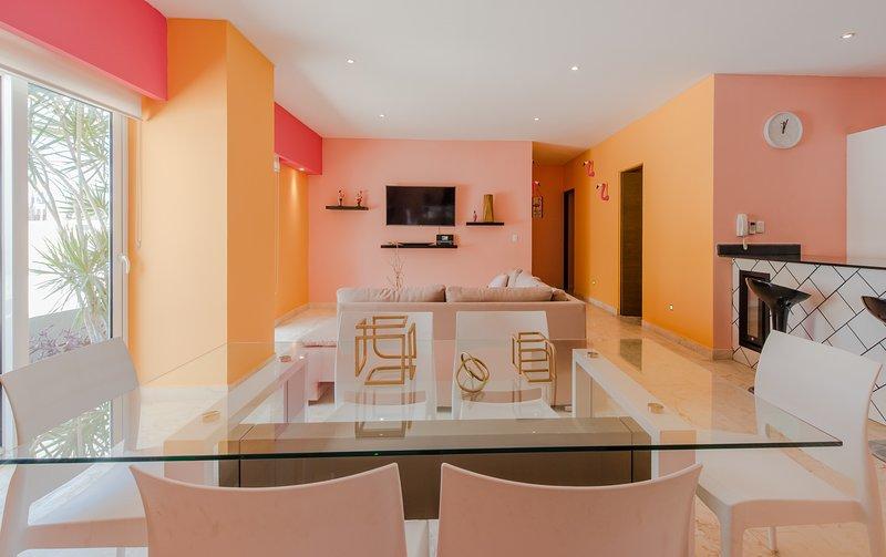 Luxury Living Area with Stone Flooring