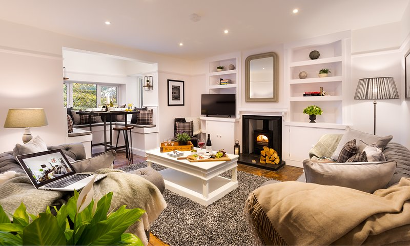 Stylish Living Room with Stovax Log Burner & Garden Views