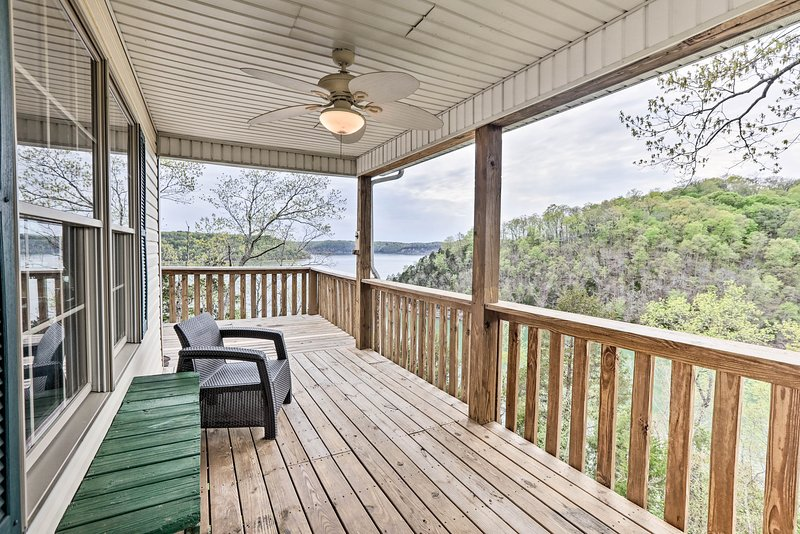 This Nancy vacation rental boasts a multi-level deck with stunning views!