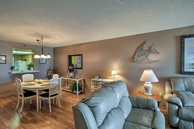 You'll love the beach-themed decor and open-concept interior.
