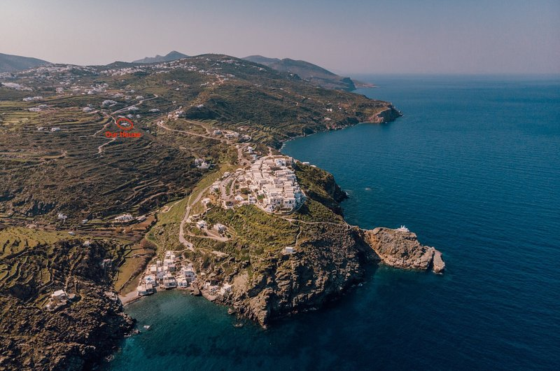 Our house with beaches in front as seen from drone over the ancient t city of Kastro