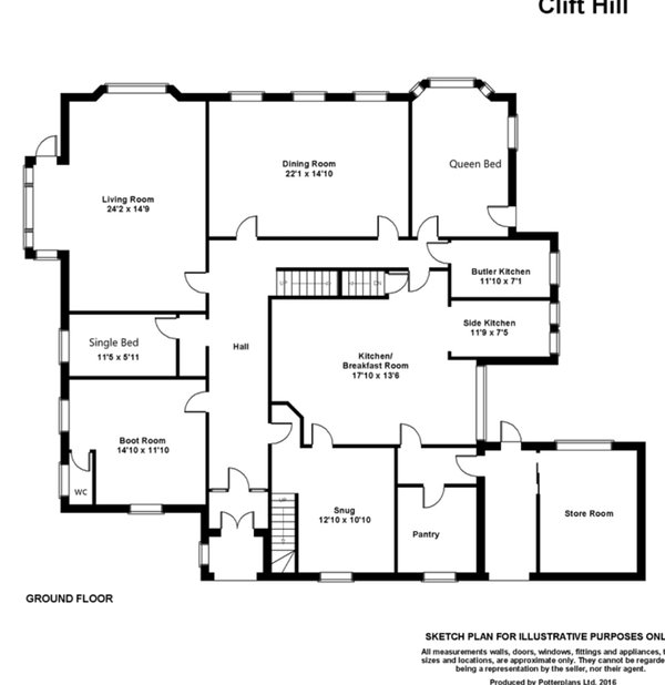Ground floor room and bed plan