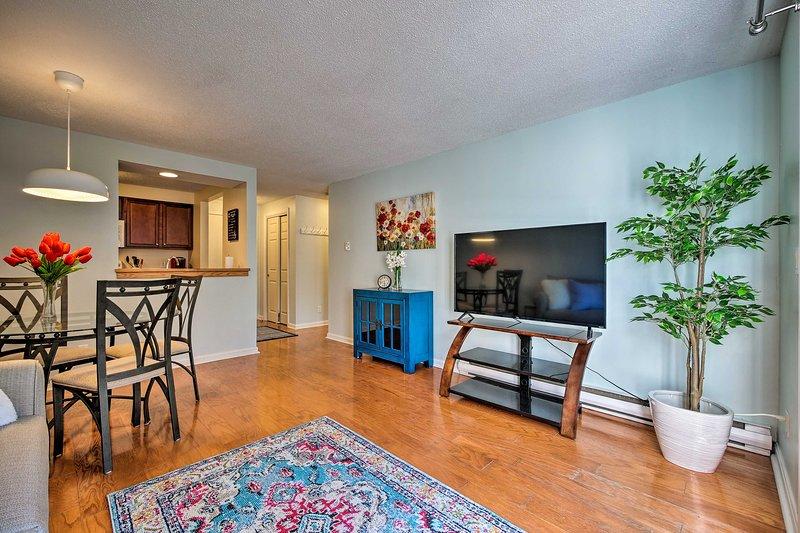 This condo hosts 1 bedroom, 1 bath, and community amenities.