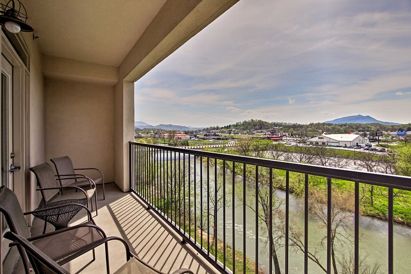Delight in views of the river and mountains beyond from the balcony!