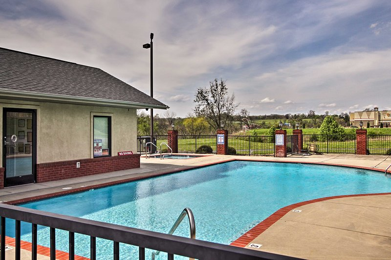 Dive into the pool during warmer months or soak in the hot tub come wintertime!