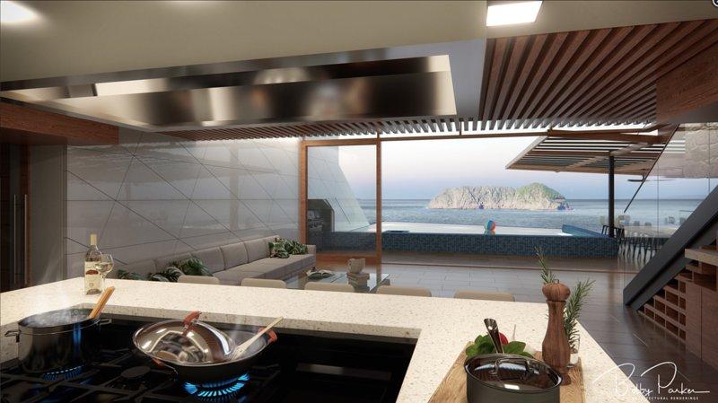 Villa La Isla Kitchen View - Render