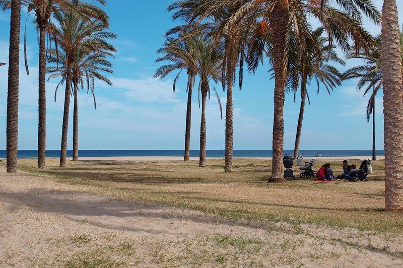 Zonas de descanso en la playa de la Patacona. Rest areas on the beach of Patacona.