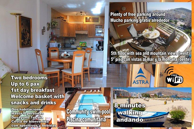 Los Cristianos Edén, piscina, 2 habitaciones, WiFi, vistas, aluguéis de temporada em Los Cristianos