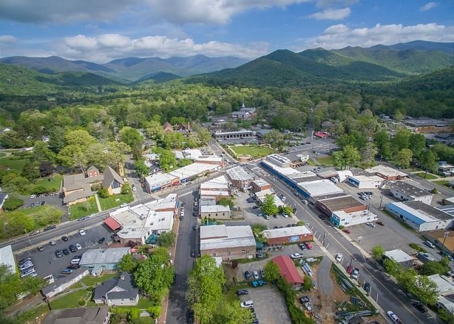 Aerial of downtown Black Mountain-