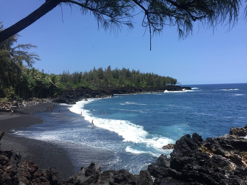 Stay at Blue Kehena and walk to Kehena Black Sand Beach (clothing optional)!