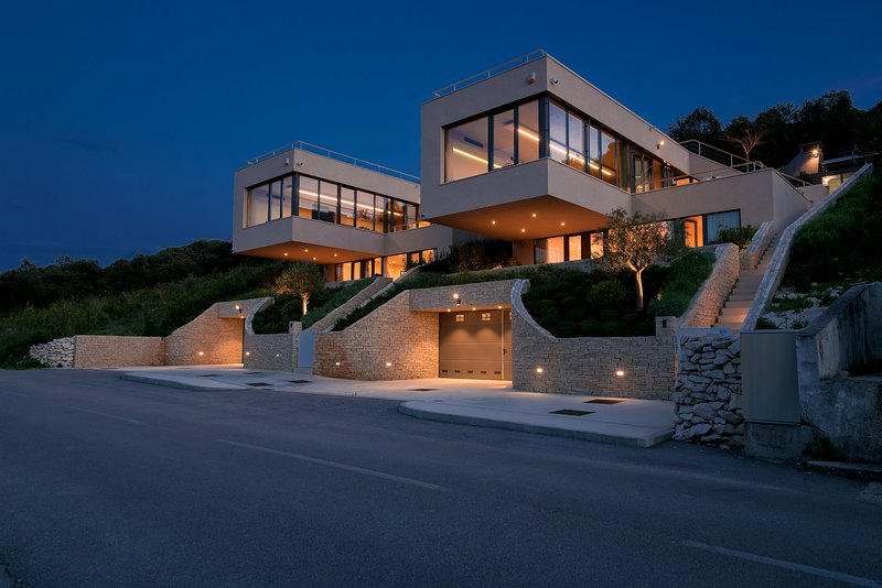 Front of the property by night