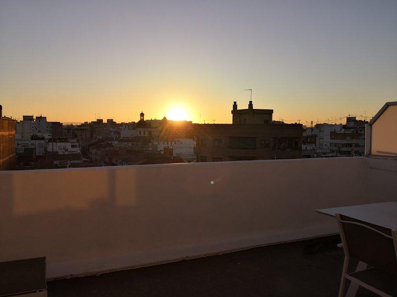 Pôr do sol terraço