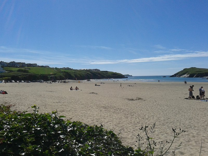 Porth Beach in the sun from our garden with own access to beach