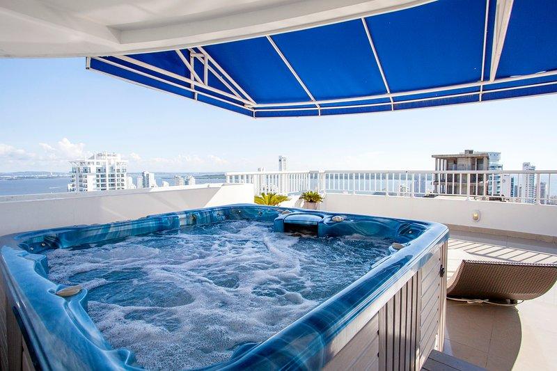 Jacuzzi privado, terraço andar 39, piso Palmetto Penthouse Deluxe 39