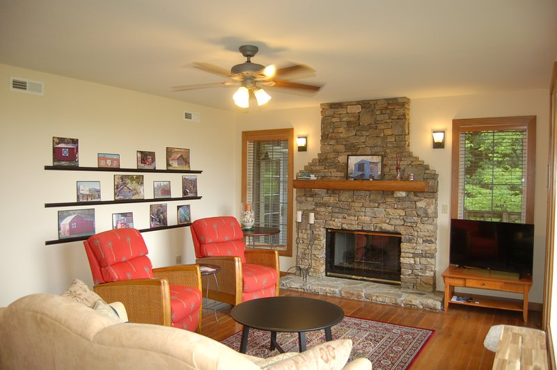 Relax By the Gorgeous Fire Place in the Main Living Area