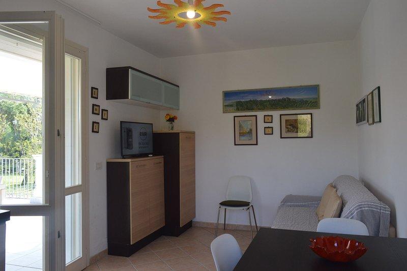 Beautiful sunny living room with flatscreen TV