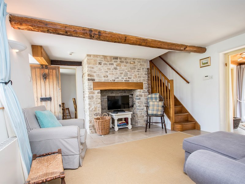 Exposed beams in the living area