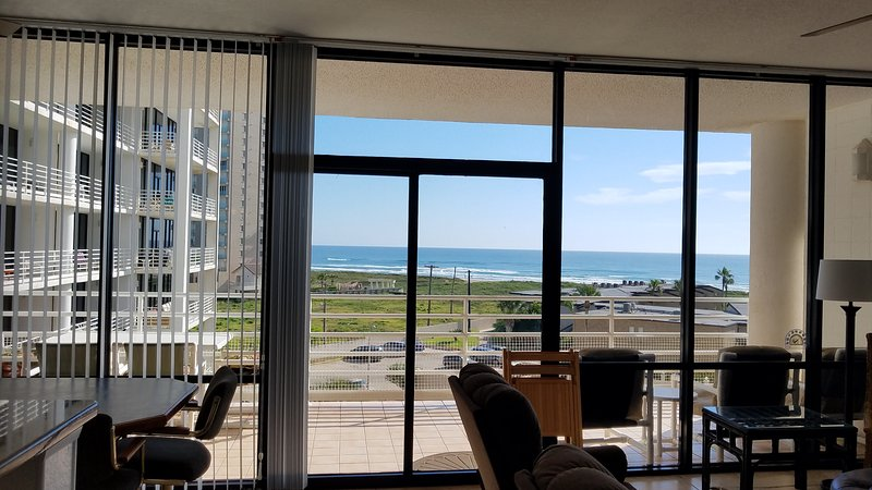 View from the living rooms 10 foot window wall to the Gulf of Mexico.