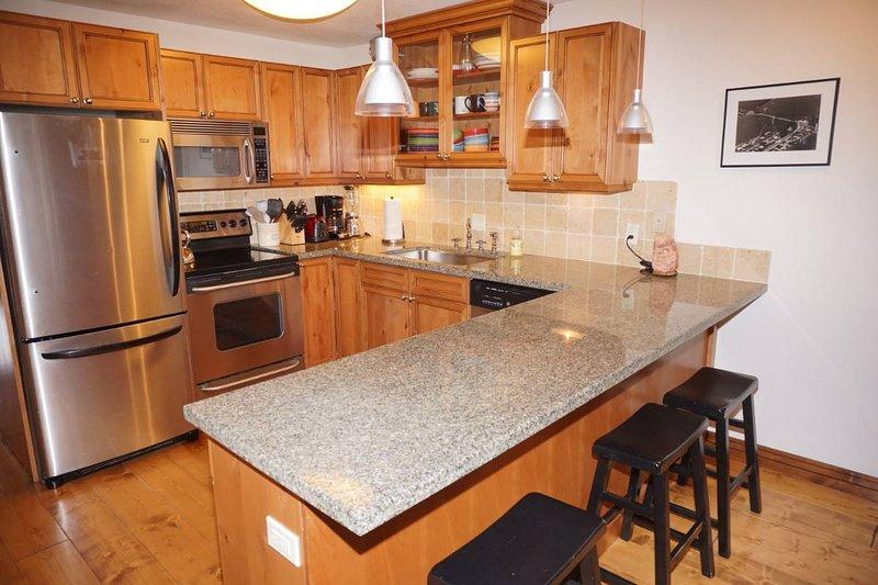 Neu renovierte Küche mit rostfreien Geräten und Granit