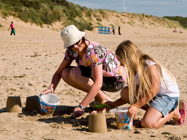 Building sandcastles on Morriscastle beach