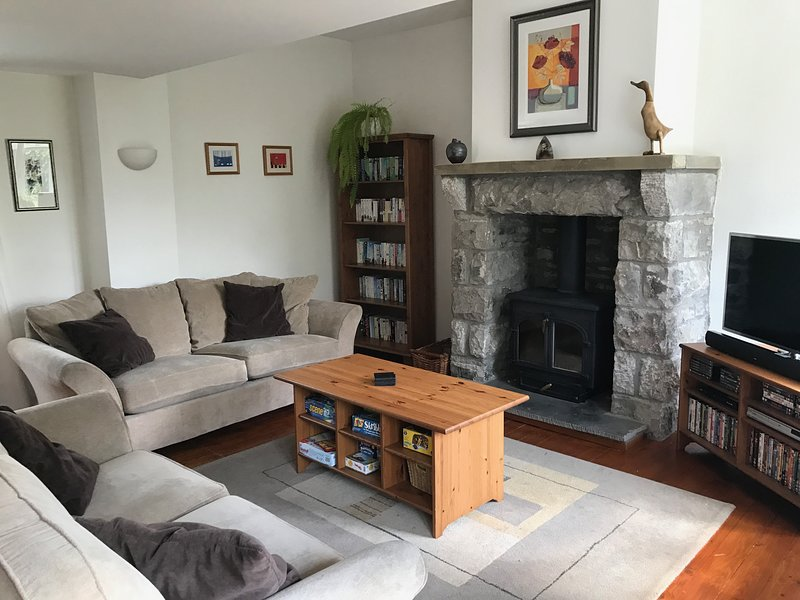 Living room with log fire, DVDs, books and games for all the family