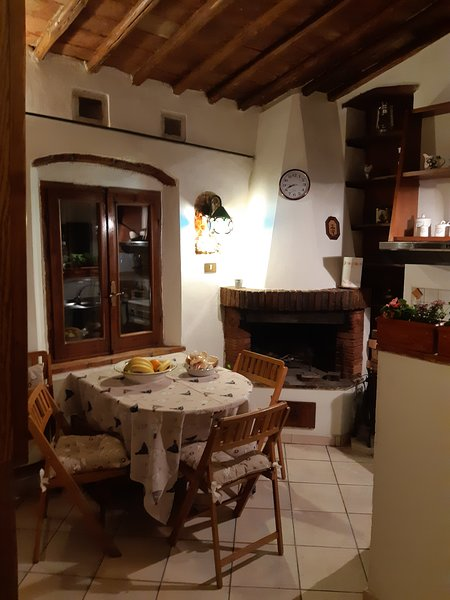 Kitchenette with dining area, TV and fireplace