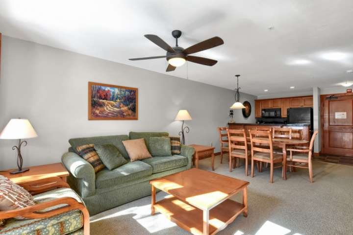 The family room area is a place to gather and relax after spending some quality time in the spectacular Wasatch Mountains.
