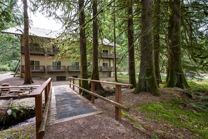 Sit by the creek at Snowline Lodge!