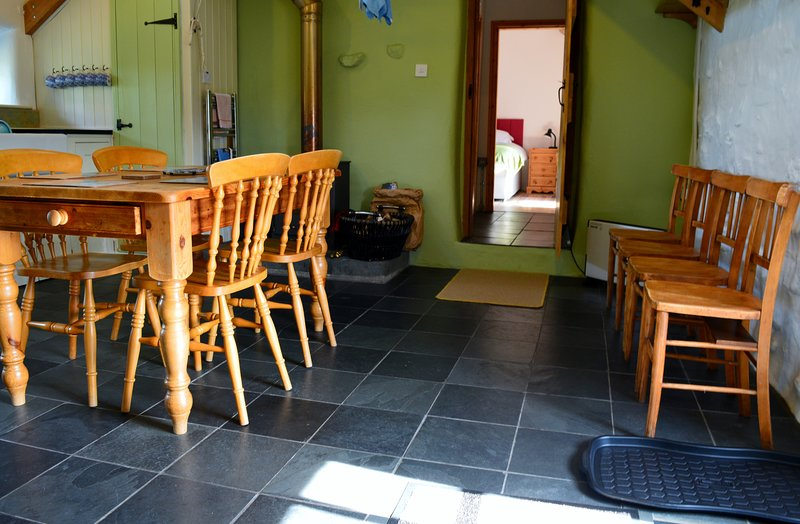 One end of the large kitchen-diner. A great place for family/friends gatherings.