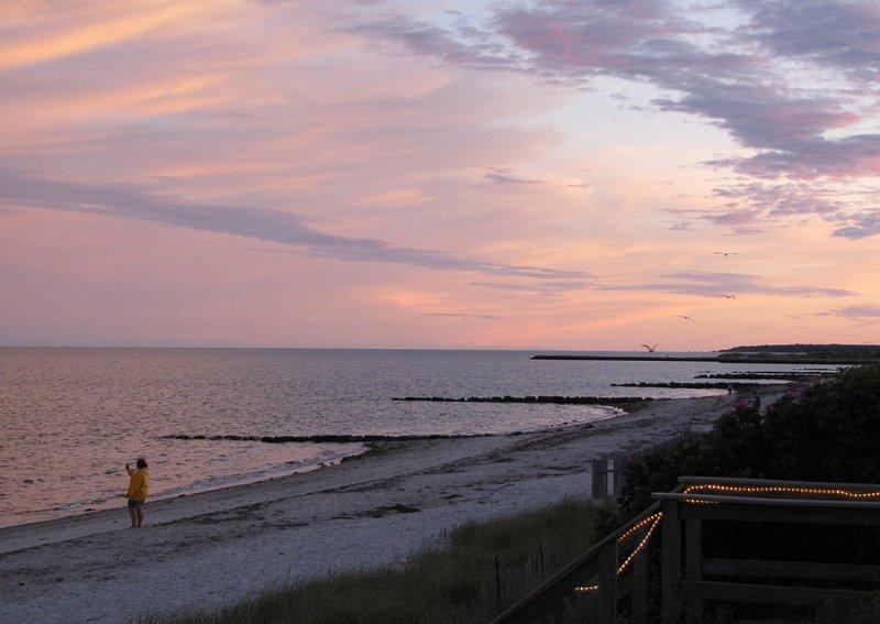 Beach sunset looking West towards Hyannis