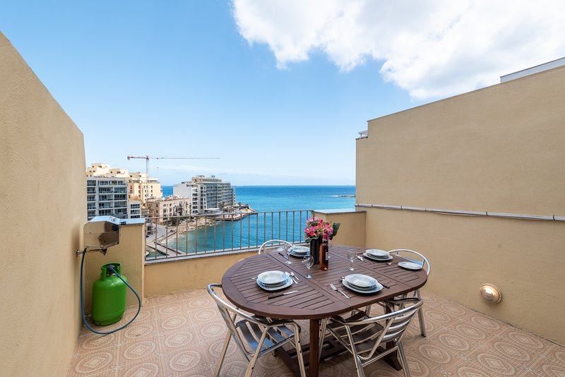 Front Sea View Terrace With BBQ and Outdoor Furniture.