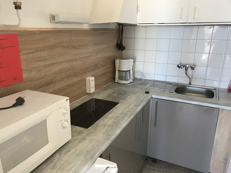 Small independent kitchen equipped microwave ... dishes ...