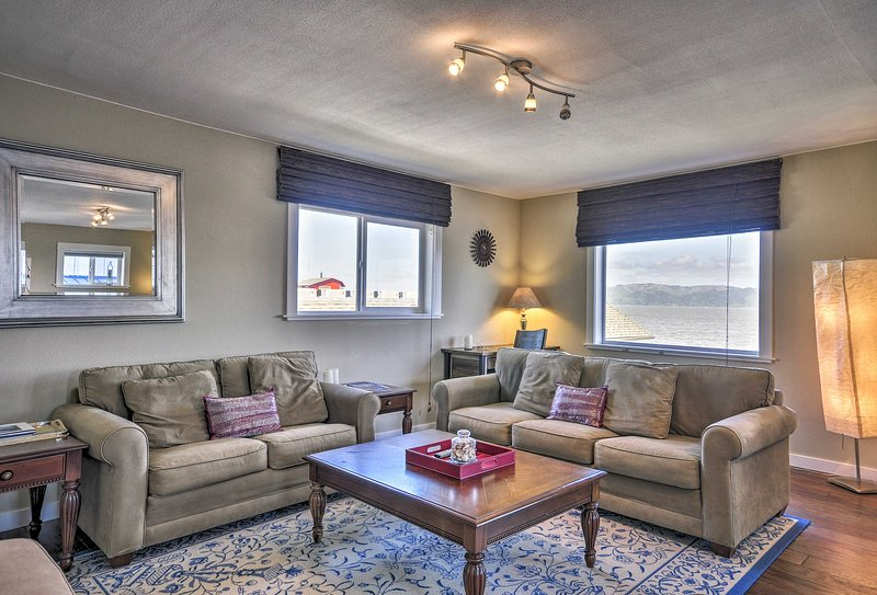 The 1-bedroom, 1-bath vacation rental is perfect for a romantic retreat.