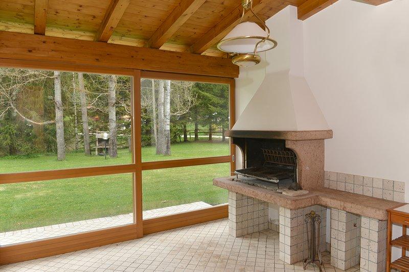 veranda with barbecue