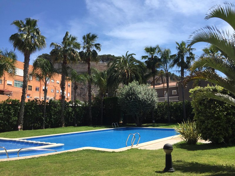 Children's pool and adults in garden with large palm grove