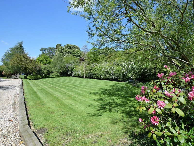 Driveway with large lawn area