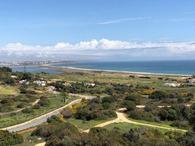 View from main terrace to Meia Praia beach, Alvor lagoon and the coastline to Carvoeiro lighthouse