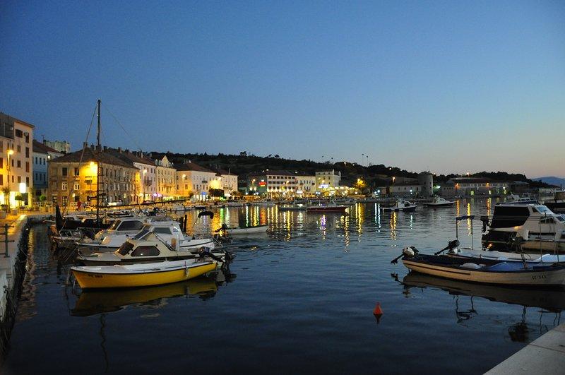 Senj at night at the harbor