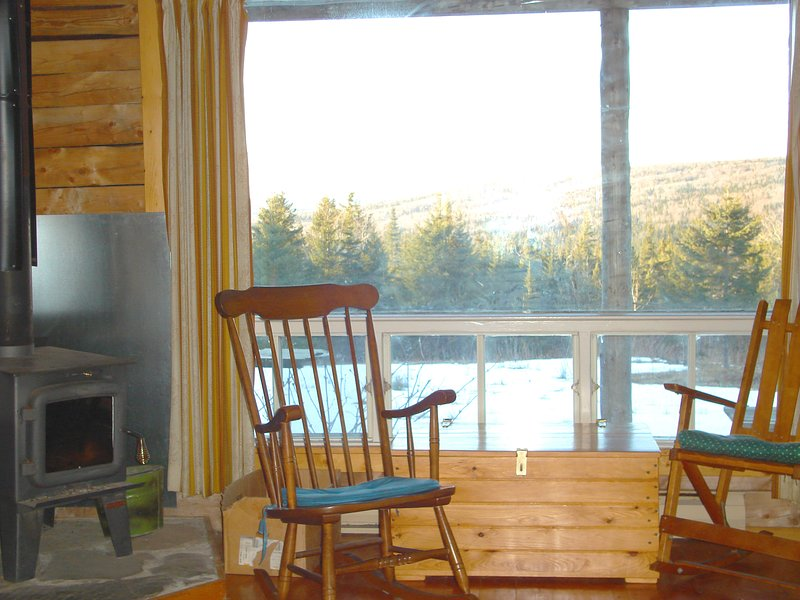 Wood stove by the picture window